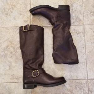 NWT FRYE Leather Brown Knee High NEW Buckle BOOTS